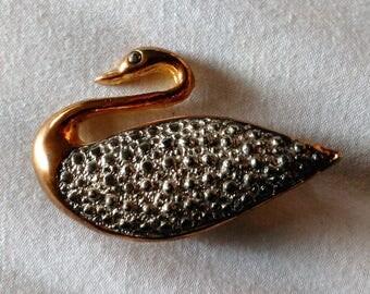 Vintage Swan Brooch bird Pin Silver tone Gold tone