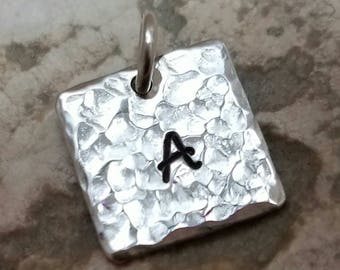 Initial Charm in Sterling Silver Half Inch Square Hammered Initial Charm Single or Double Letter Date Charm