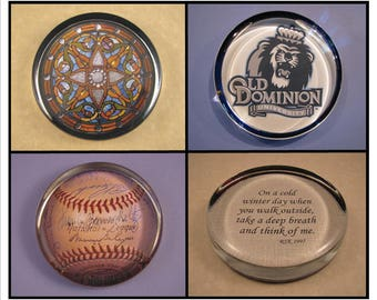 Custom Large Round Glass Paperweight Personalized with Your School, Club, Team, or Organization Logo, Photo or Quote