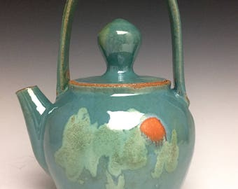 Handmade Ceramic Teapot; Celadon Glaze With Sun Dot; Functional Craft