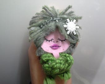 Small Felt Brooch Art Doll Forest Urchin Green Haired Girl