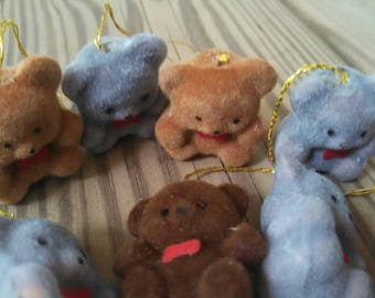 Vintage Flocked Bears - lot of 9 mini bears flocked animals bear ornaments vintage crafts craft lot vintage miniatures