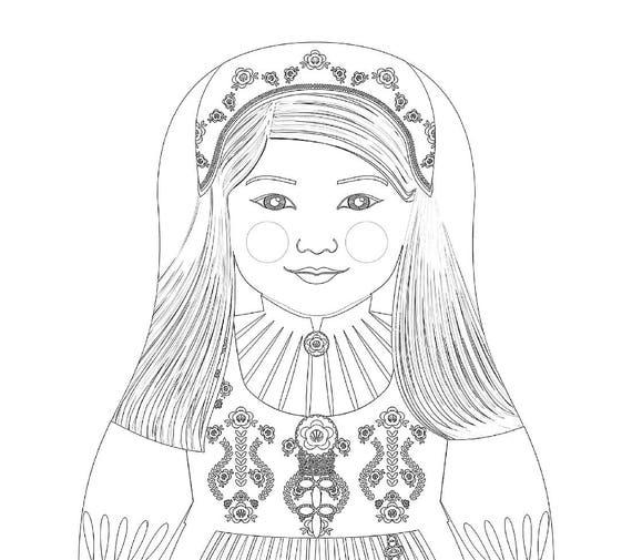 Norwegian Girl Matryoshka Coloring Sheet Printable file