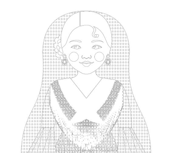 Spaniard Doll Coloring Sheet Printable Matryoshka 2nd version