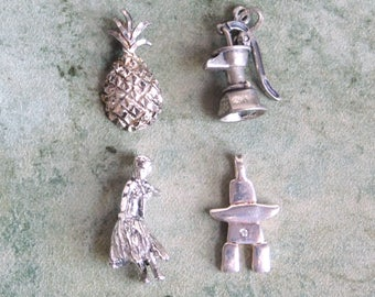 Vintage Sterling Silver Charms Lot of 4 Destash - Beau Arts Moving Water Pump, Abstract Figure w/ Diamond Chip Hawaii Pineapple Hula Dancer