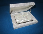 Vintage 1950s Mother of Pearl Perfect ELEGANCE Compact in Hinged Presentation Box