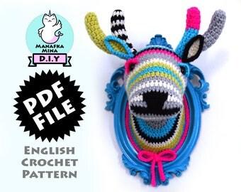 CROCHET PATTERN, DIY, Faux Deer Head, Crochet Taxidermy, Crochet Deer, Amigurumi Crochet Pattern of Faux Taxidermy Deer Head by Manafka Mina