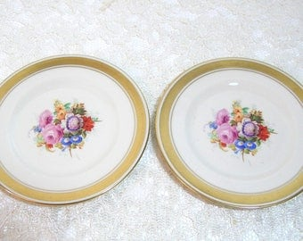 "Tatler of Trenton Gold Rimmed Floral Plates, Pair of 6 1/4"" Plates"