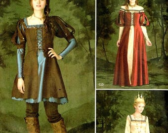 On Sale Medieval Huntress Lace Up Bodice Fantasy Costume Dress Simplicity 1773 Sewing Pattern Renaissance Gown Size 14 16 18 22 New Uncut