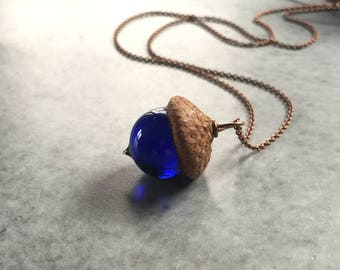 Glass Acorn Necklace - Deep Violet Blue - by Bullseyebeads - Ready To Ship