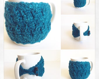 Coffee Mug Cozy in Teal, ready to ship.