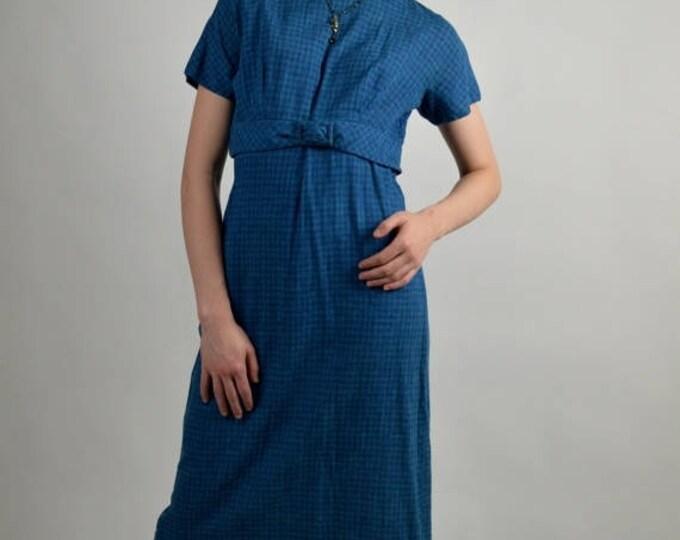 sale Blue Vintage Dress, 50s Dress, Rockabilly Dress,Black and Blue Dress, Empire Waist Dress, Cotton Dress, Office Dress, Size Large