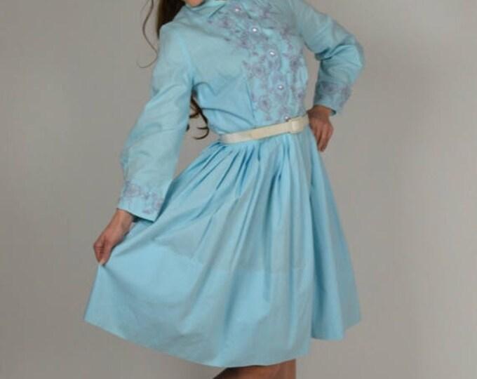 sale Vintage Dress, 50s Dress, Swing Dress, Circle Skirt, Housewife Dress, Pin Up Dress, Cotton Dress, 1950s Vintage Clothing, Rockabilly Dr