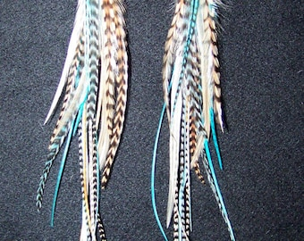 Turquoise blue feather earrings, Long Feather Earrings, Real Feather Earrings, brown Feather earrings,  Extra long feather earrings, feather