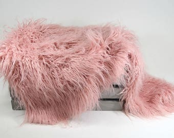 LaRge Pink Vegan Flokati Newborn Photo Props, Newborn Girl Photography Props, Baby Girl Backdrop Studio Props, Faux Fur Blanket, LaRGe Peony