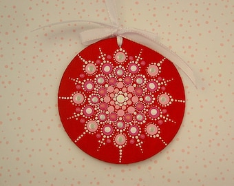 """Hand painted Christmas tree ornaments 3.75"""" round mandala wood red pink white silver Holiday Decoration snowflake last minute gift idea glow"""