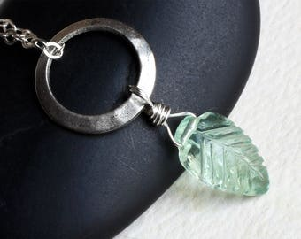 "Carved Fluorite Leaf Necklace, Sterling Silver Pendant - ""Springmorn"" by CircesHouse on Etsy"