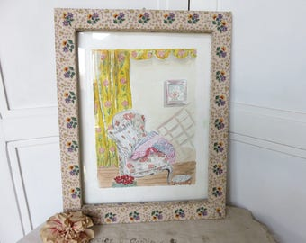 Vintage French Watercolour Painting in Fabric Covered Wooden Frame, Country Cottage Chic Large Picture, Vintage French Home Display