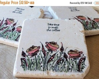 XMASINJULYSale Coffee Coasters - Absorbent Stone Drink Holders - Coffee Lover Gift - Take Time to Smell the Coffee Design