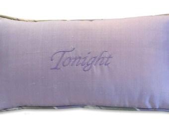 tonight not tonight boudoir embroidery pillow silk lavender celery green