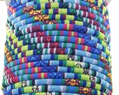 5 feet tribal fabric cord. 6mm diameter.  Blue, purple, magenta, green, yellow and white.