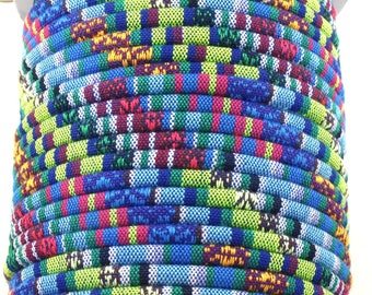 5 feet tribal fabric cord. 6mm diameter.  Blue, purple, magenta, green, yellow and white.
