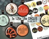 "Bike Ride Bicycle Digital Collage Sheets 1"" 1.25"" and 1.5 Inch Circles Printable Download for Pendant Magnet Bottle Cap Necklaces Crafts JPG"