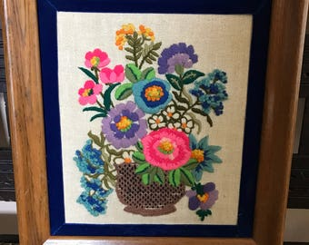 Vintage Crewel Embroidery Wall Art 1960s