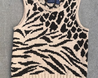 Animal Print Vintage Liz Claiborne Brown and Beige Knit Sleeveless Top