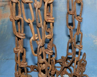 3 yards, vintage old metal chain with two carabiners, from an estate sale, home decor, cool vintage, collectibles, gorgeous patina, rust, UA