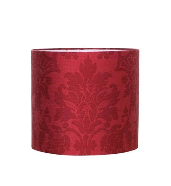 Red damask drum shade vintage french fabric buffet lamp like this item aloadofball Image collections