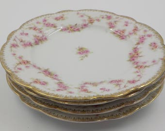 Gorgeous - Vintage Porcelain Dessert Plates - Bread and Butter Plates- Set of 4- Austria - Pink Roses - Shabby Cottage - Romantic - 1910 Era