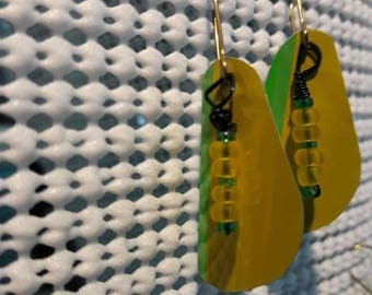 Yellow and green beer can earrings