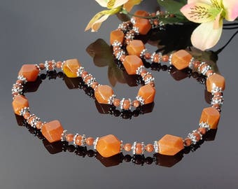 Red Aventurine Necklace Natural Brown Gemstone Statement Necklace for Women Bead Necklace Birthday gift Women Energy Necklace Mom Gift Idea