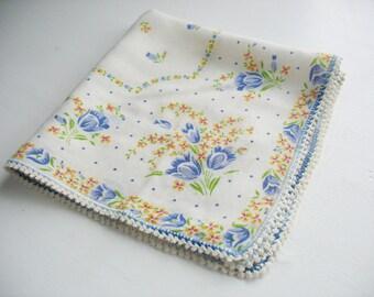 Vintage Handkerchief, Hankie, Tulip, Floral Bouquet, Blue, Yellow, Green, Red, White, 11.5x11, Ladies, Cotton