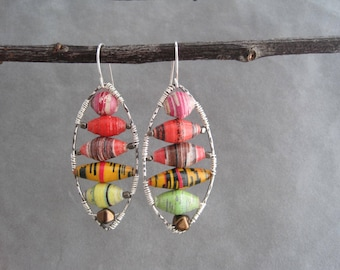 Hoop Earrings with African Paper Beads - A Burst of Color - Recycled Paper Beads - Colorful-  African Beads - Silver Hoops - Upcycled