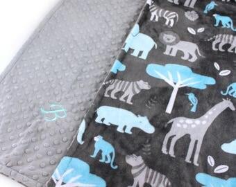 Minky Baby Blanket Boy, Zoo Animal Gray Blue Personalized Baby Blanket // Animal Baby Blanket // Soft Baby Blanket