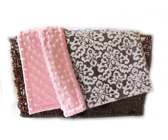 Minky Throw Blanket, Minky Adult Blanket, Personalized Blanket, Pink Gray Damask Throw, Damask Blanket, Twin Blanket, Personalized Gift
