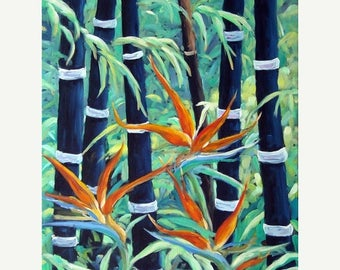 On Sale Abstract Bamboo and Birds of Paradise 04 fine arts Original Oil Painting by Richard T. Pranke