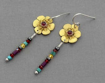 Brass gold flower dangle earrings garnet earrings colorful gemstone earring nature botanical jewelry bohemian contemporary buttercup jewelry