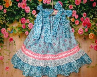 Baby Girl Dress 12M/18M Blue Pink Flower Pillowcase Dress, Sundress