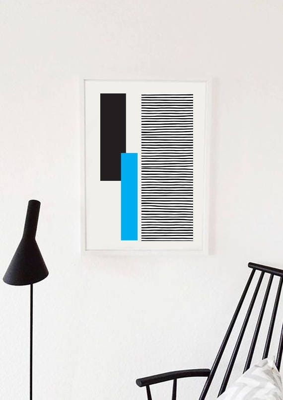 GEO LANDSCAPE blue // Poster Abstract art, 18x24, minimalist art, geometric print, scandinavian style, Nordic design, blue and black