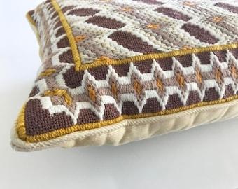 Vintage Needlepoint Pillow Bargello Pattern Yellow Brown Interior Design