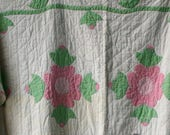Antique Applique Quilt 50s White Pink Green Vintage From Nowvintage on Etsy