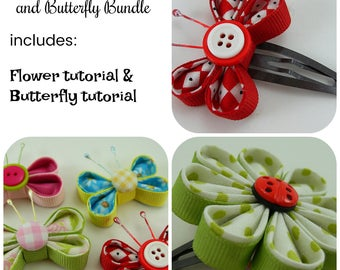 Fabric and Ribbon Kanzashi Flower and Butterfly Tutorial ... includes 2 tutorials