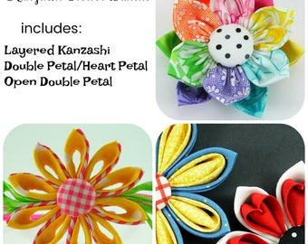 Kanzashi Fabric Flower Tutorial Bundle ...  includes 3 flowers