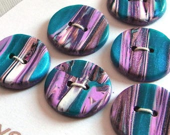 Handmade Buttons Striped Teal Pink Purple White 20mm
