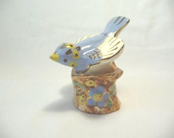 Bird Salt Pepper Shaker Set, Vintage Shaker Set, Bird on Stump, Ceramic Shaker Set, Glass Blue Bird, Vintage Housewares,Kitchen Decor,Unique
