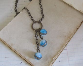 Recycled Glass Marble Pendant Long Drop Necklace