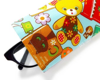 Cute Glasses Cases Sleeve Sunglass Soft Lightweight Japanese Fabric Eyeglass Reading Glasses Cover Toys Books Bears Kawaii Fabric